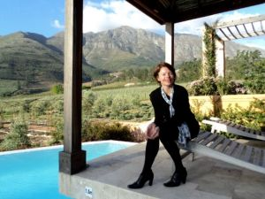 Lizelle at the La Residence horizon pool overlooking olive groves