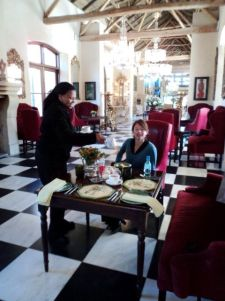 Lizelle enjoying breakfast at La Residence