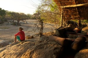 Banda overlooking the Ruaha River, Mwagusi